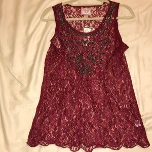 NWT!!!! Romeo & Juliet Couture lace beaded tank